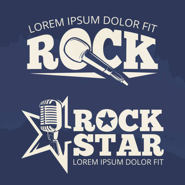 rock star music labels on grunge backdrop - rock n roll stock illustrations, clip art, cartoons, & icons