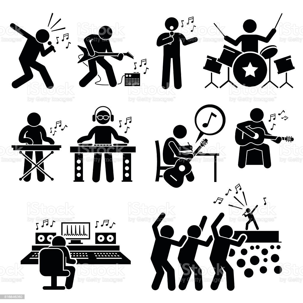 Rock Star Musician Music Artist with Musical Instruments Illustrations