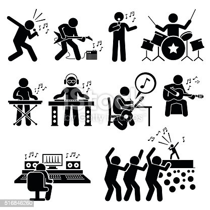Vector set stick figure man pictogram representing rock star band and group. They are singer, guitar player, drummer, playing keyboard, deejay, dj, songwriter, music production room, and audience and fans cheering in a concert.