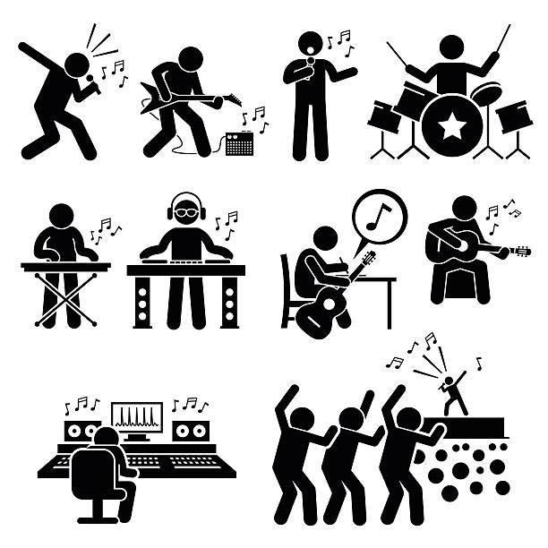 ilustrações, clipart, desenhos animados e ícones de estrela do rocha músico artista musical com instrumentos musicais ilustrações - músico