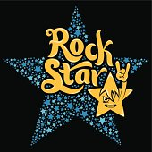 """Typography """"Rock Star""""..Inside the blue star. And the character in the form of a star."""