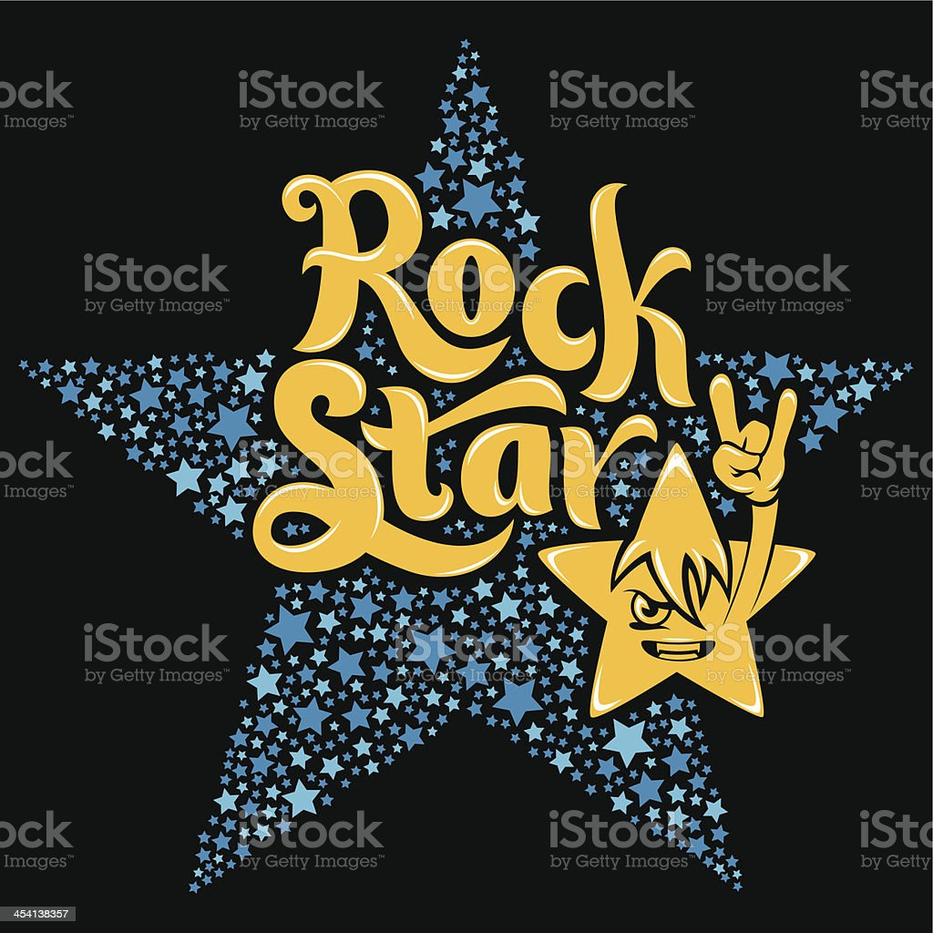 Rock Star Typography vector art illustration