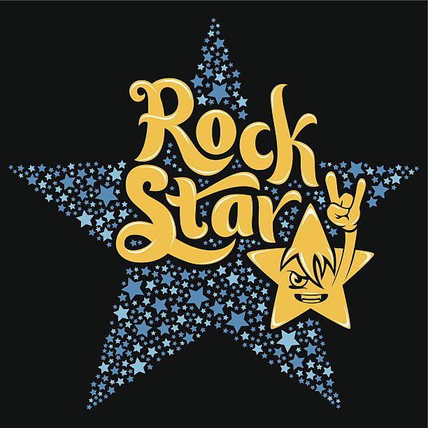 rock star typografie - rocker stock-grafiken, -clipart, -cartoons und -symbole