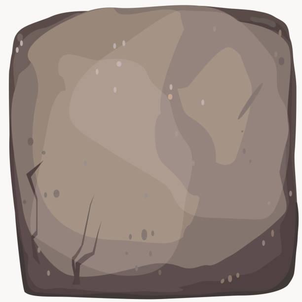 stein stein cartoon banner. quadratische steinplatte. große boulder flachen stil. vektor - granitplatten stock-grafiken, -clipart, -cartoons und -symbole