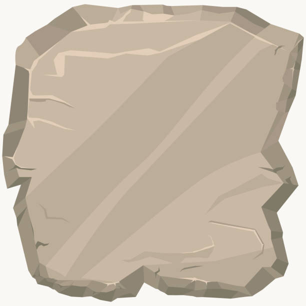 stein. spiel-kunst felsen cartoon-banner. quadratische steinplatte. vektor - granitplatten stock-grafiken, -clipart, -cartoons und -symbole