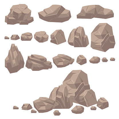 Rock stone. Isometric rocks and stones, geological granite massive boulders. Cobbles for mountain game cartoon landscape. Vector set