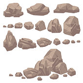 Rock stone. Isometric rocks and stones, geological granite massive boulders. Cobbles for mountain game cartoon landscape. Natural mineral texture isolated vector set