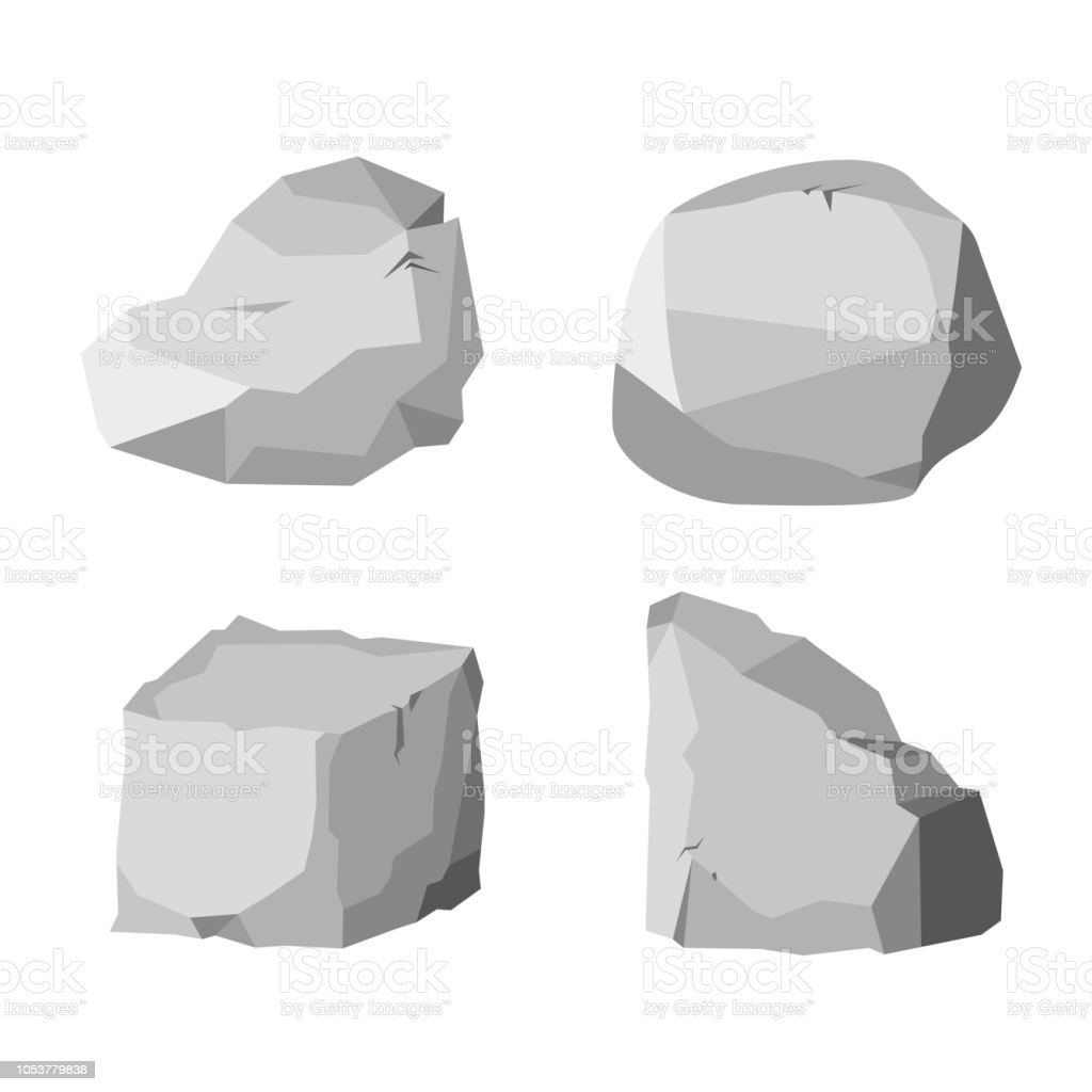 Ilustración De Piedra Roca Conjunto De Dibujos Animados Piedras Y