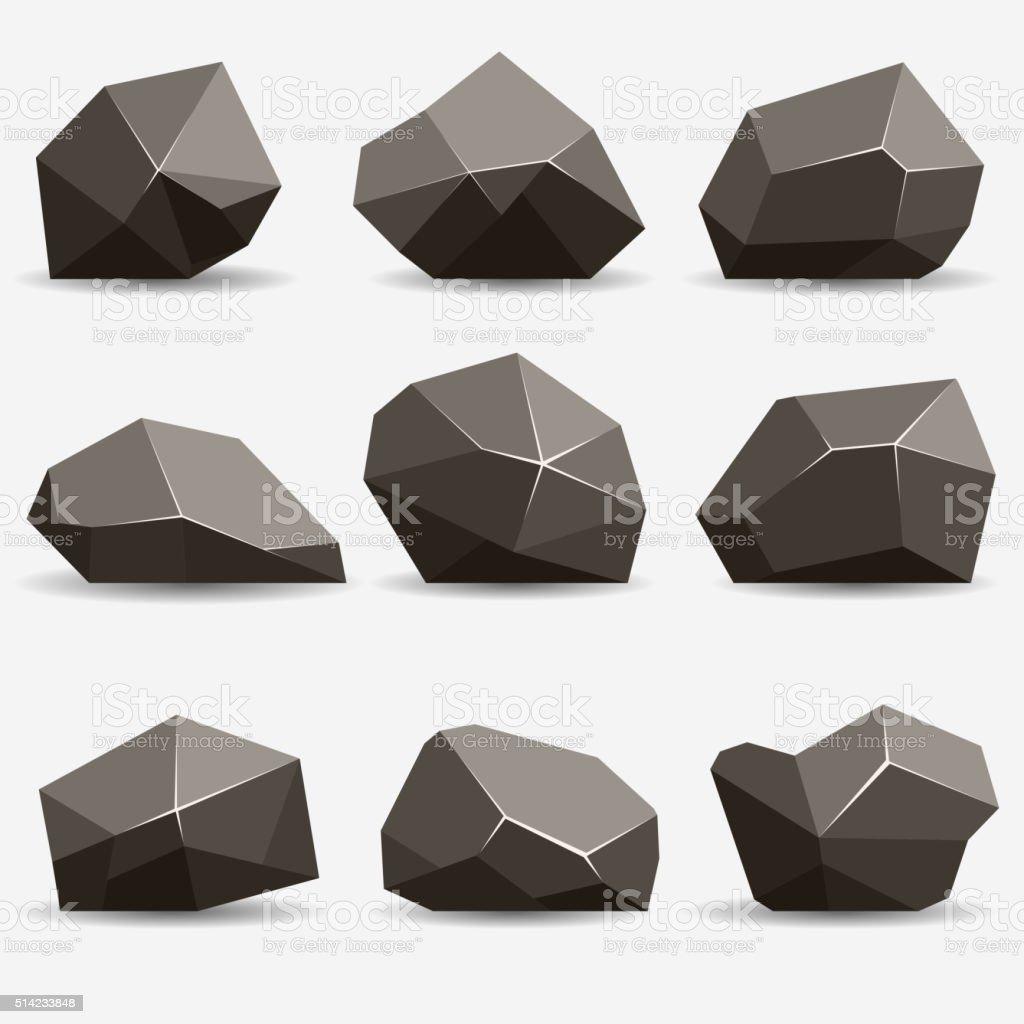 Rock stone set vector art illustration
