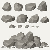 Rock stone set cartoon. Stones and rocks in isometric 3d flat style. Set of different boulders