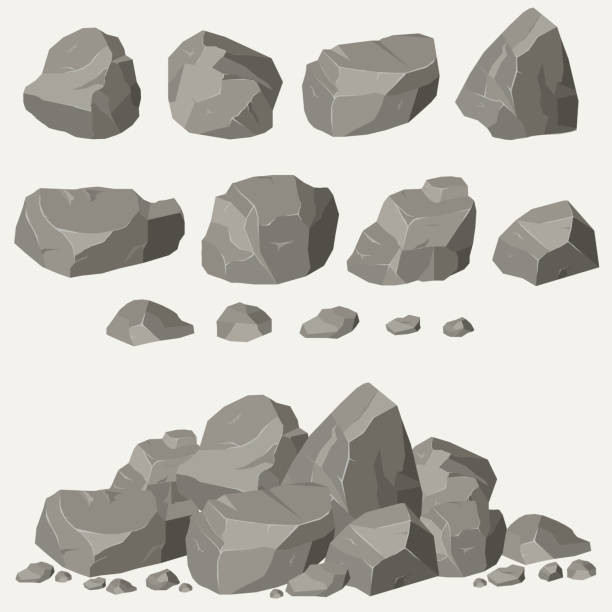 stockillustraties, clipart, cartoons en iconen met rock stone set - steen bouwmateriaal
