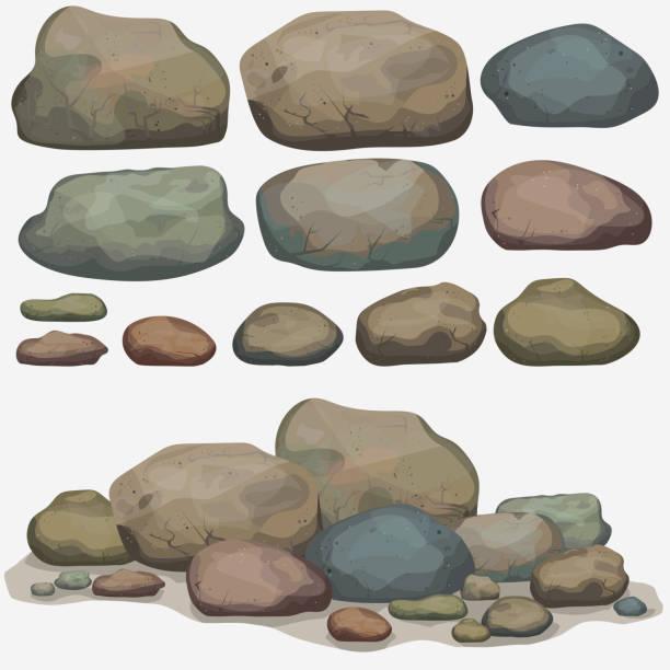 바위산 스톤 설정 - 바위 stock illustrations