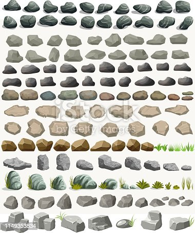 Rock stone set with grass cartoon in flat style. Set of different boulders. Natural stones pile. Vector illustration