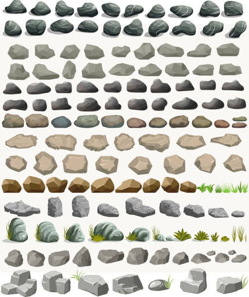 stockillustraties, clipart, cartoons en iconen met rock stone set met gras cartoon in platte stijl. vector - steen bouwmateriaal