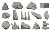 Rock stones. Graphite stone, coal and rocks pile for wall or mountain pebble. Gravel pebbles, gray stone heap cartoon isolated vector icons illustration set