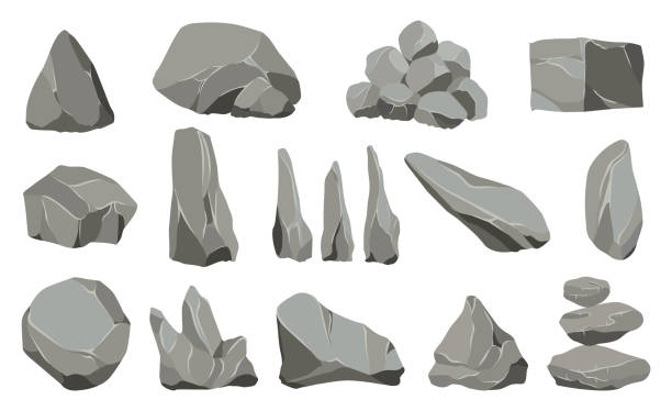 stockillustraties, clipart, cartoons en iconen met rots stenen. grafiet steen, steenkool en rotsen stapel voor muur of berg kiezel. grind kiezels, gray stone heap cartoon geïsoleerde vector iconen illustratie set - steen bouwmateriaal