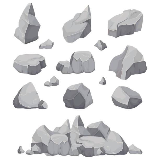 rock stones. graphite stone, coal and rocks pile isolated vector illustration - skała stock illustrations