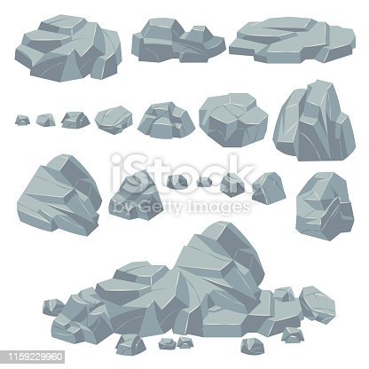 Rock stones. Natural stone rocks, massive boulders. Granite cobble cliff and stone heap for mountain landscape. Cartoon pile gravel object vector set
