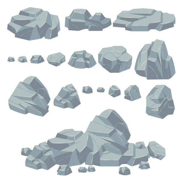 Rock stones. Natural stone rocks, massive boulders. Granite cobble cliff and stone heap for mountain landscape. Cartoon vector set Rock stones. Natural stone rocks, massive boulders. Granite cobble cliff and stone heap for mountain landscape. Cartoon pile gravel object vector set cliff stock illustrations