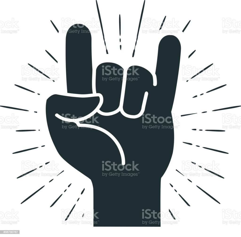 Rock symbol, hand gesture. Cool, party, respect, communication icon. Silhouette vector illustration vector art illustration