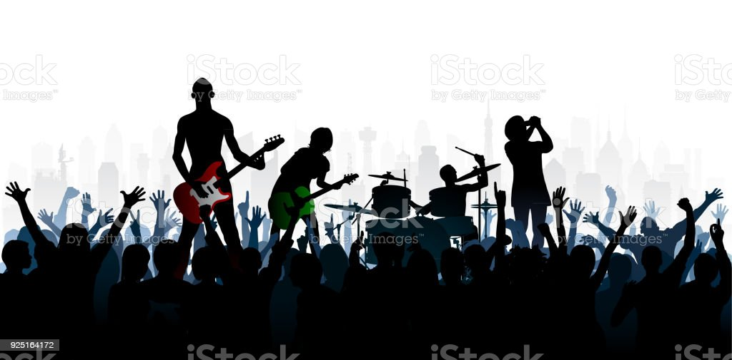 Rock (People Are Complete- a Clipping Path Hides the Legs) vector art illustration