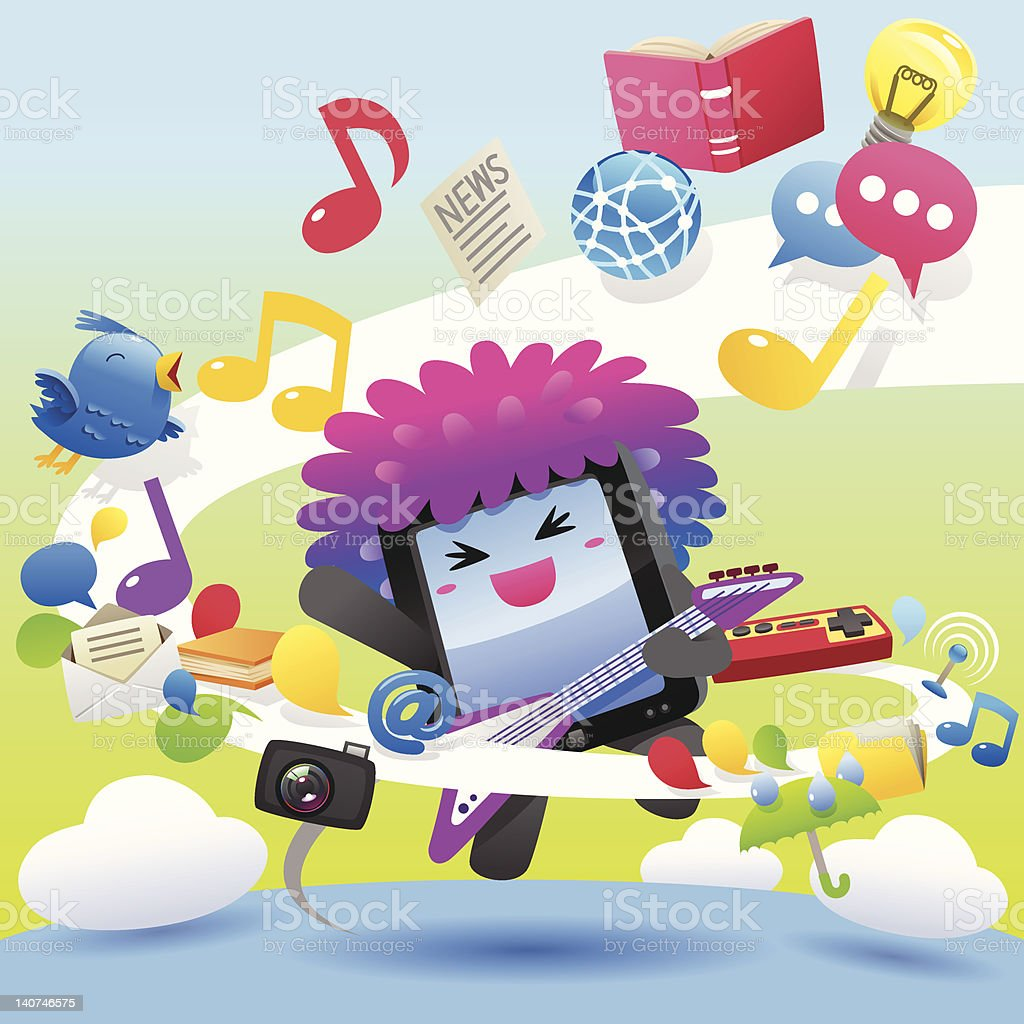 Rock with Tablet Computer character royalty-free stock vector art