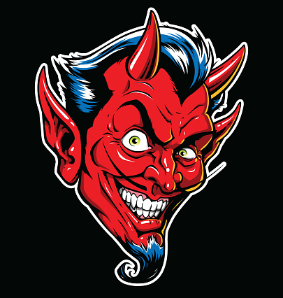 Rockabilly Devil tattoo vector illustration in full color