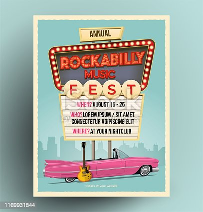 Rockabilly music festival or party or concert promo poster. Flyer template. Vintage styled vector illustration.