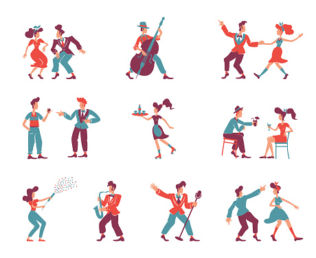 Rockabilly style people flat color vector faceless characters set. 1950s women and men. Old fashioned party dancers, jazz musicians, singers isolated cartoon illustrations on white background