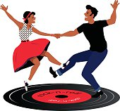 Rockabilly couple dancing on a vinyl record, vector illustration, no transparencies, EPS 8