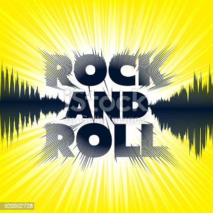 istock Rock-and-roll. Lettering on yellow background 520502728