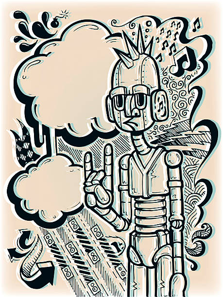 Rockbot vector art illustration