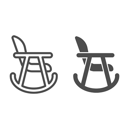 Rocker chair line and solid icon. Wood nursing rocker stool for rest outline style pictogram on white background. Children rocking toddler armchair for mobile concept and web design. Vector graphics.