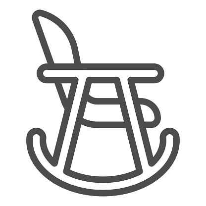 Rocker chair line icon. Wood nursing rocker stool for rest outline style pictogram on white background. Children rocking toddler armchair for mobile concept and web design. Vector graphics.