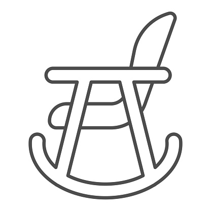 Rocker chair thin line icon. Wood nursing rocker stool for rest outline style pictogram on white background. Children rocking toddler armchair for mobile concept and web design. Vector graphics.