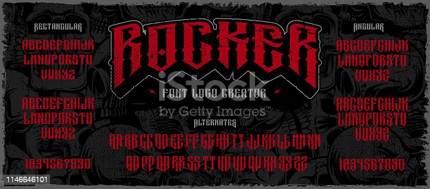 Rocker display font, logo creator. Typography for labels, headlines, posters and many other. All elements on the separate layers.
