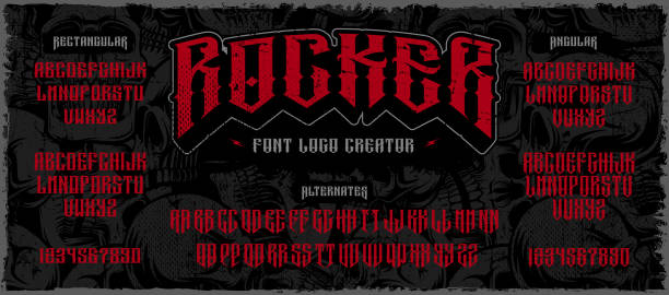 Rocker display font logo creator on the dark background Rocker display font, logo creator. Typography for labels, headlines, posters and many other. All elements on the separate layers. rock music stock illustrations