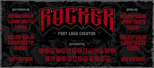 ilustrações de stock, clip art, desenhos animados e ícones de rocker display font logo creator on the dark background - tatuagem
