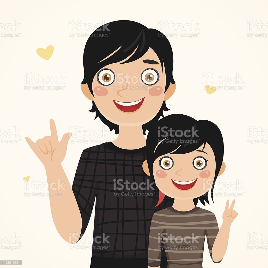 Rocker father and daughter royalty-free stock vector art