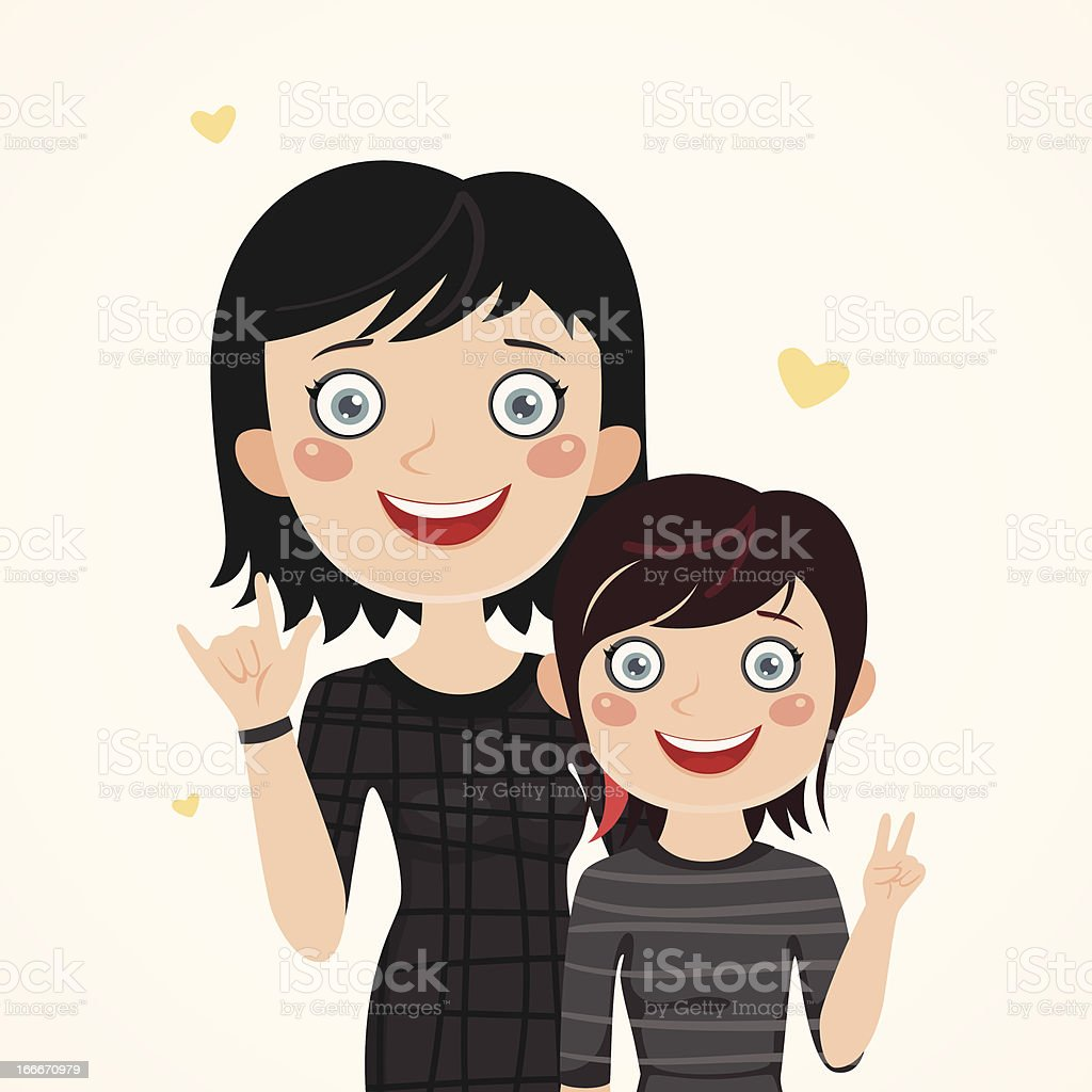 Rocker mother and daughter royalty-free stock vector art