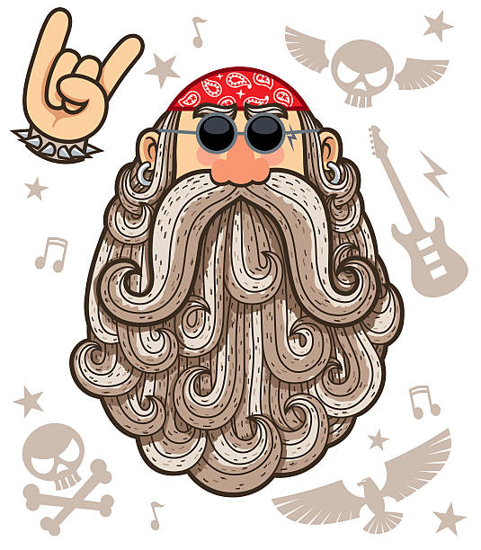 rocker - old man on bike stock illustrations, clip art, cartoons, & icons