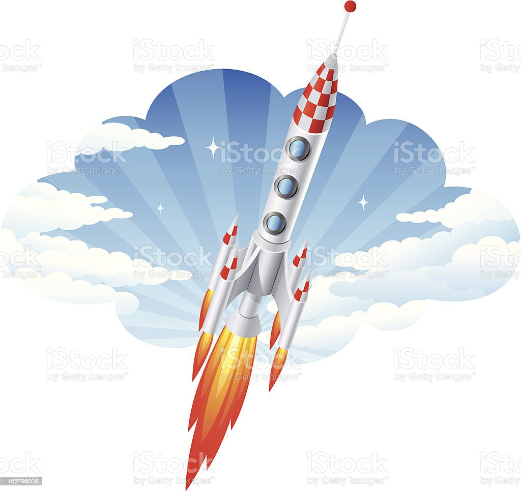 Rocket and Clouds royalty-free stock vector art