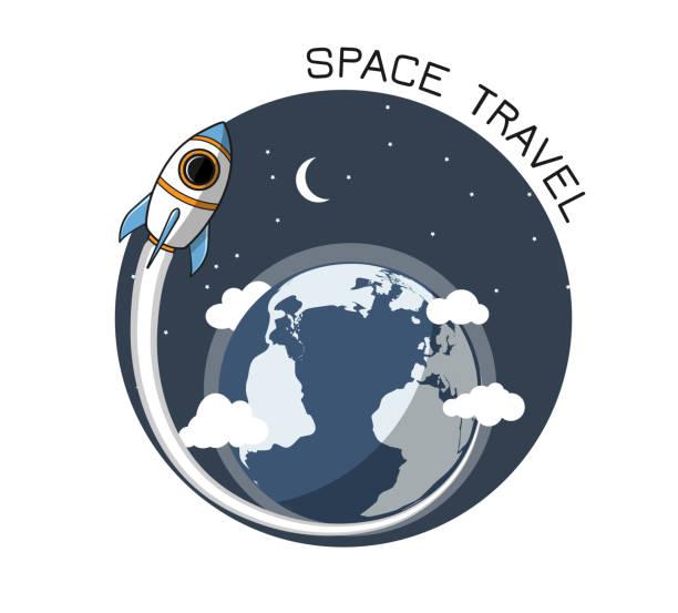 Rakete und Erde 4 – Vektorgrafik