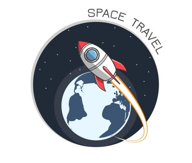Rakete und Erde Logo 2 – Vektorgrafik