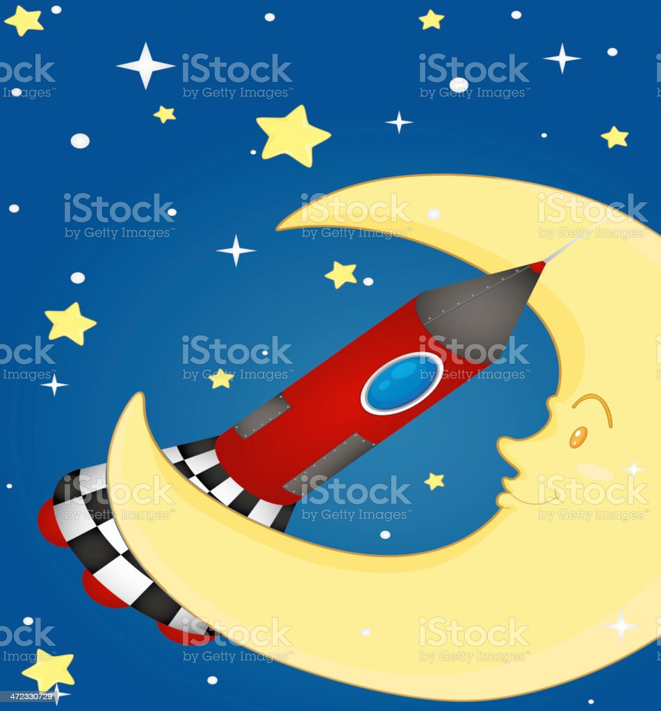 Rocket and moon royalty-free stock vector art