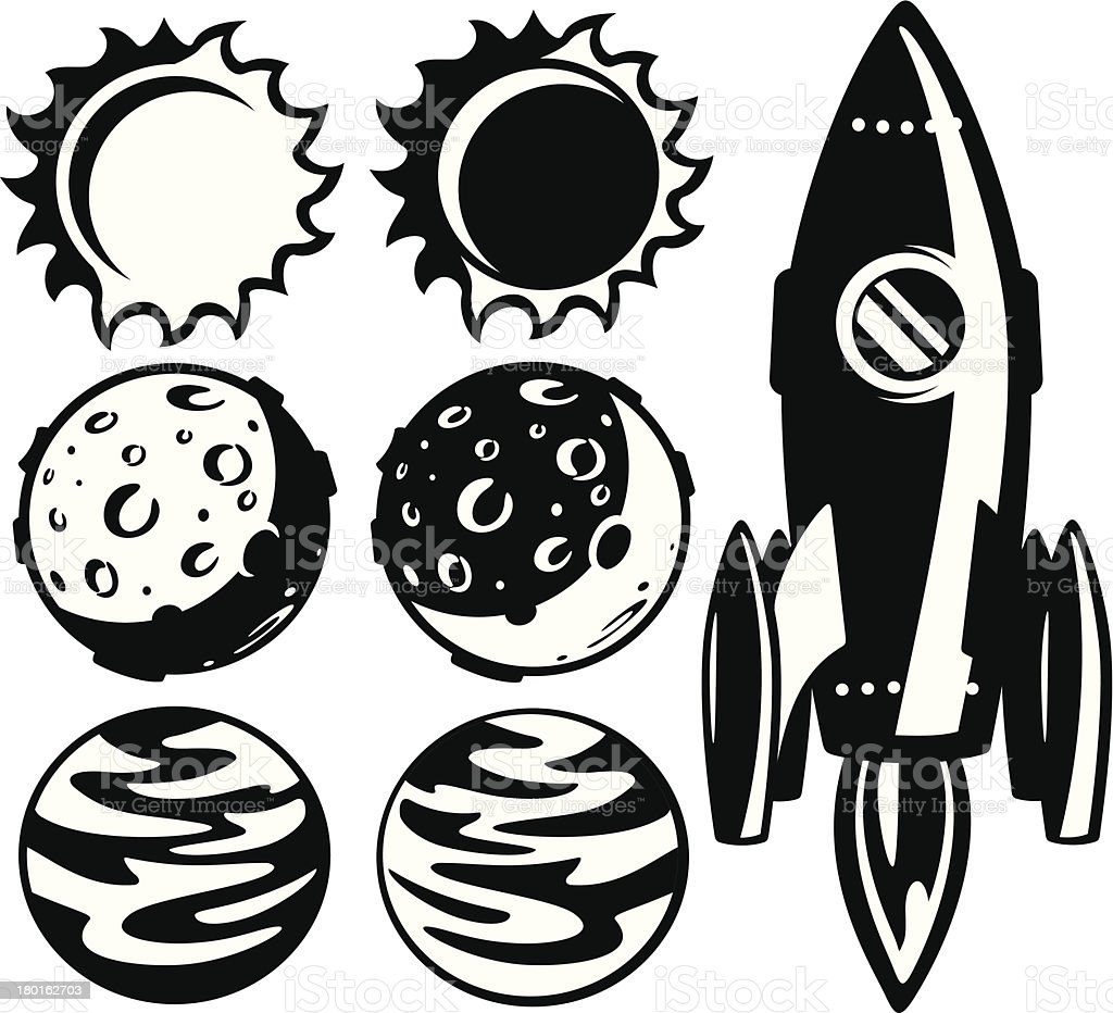 rocket and planets - exploration set royalty-free stock vector art