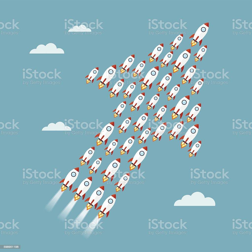 Rocket arrow vector art illustration