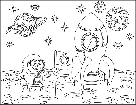 Rocket astronaut and Planets Space Cartoon Scene