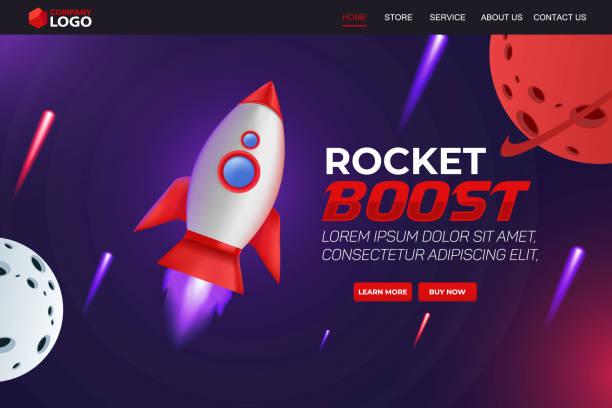 Rocket Boost Website Landing Page Vector Template Design vector art illustration