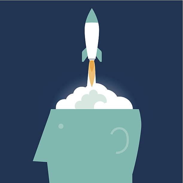 Rocket Brain vector art illustration